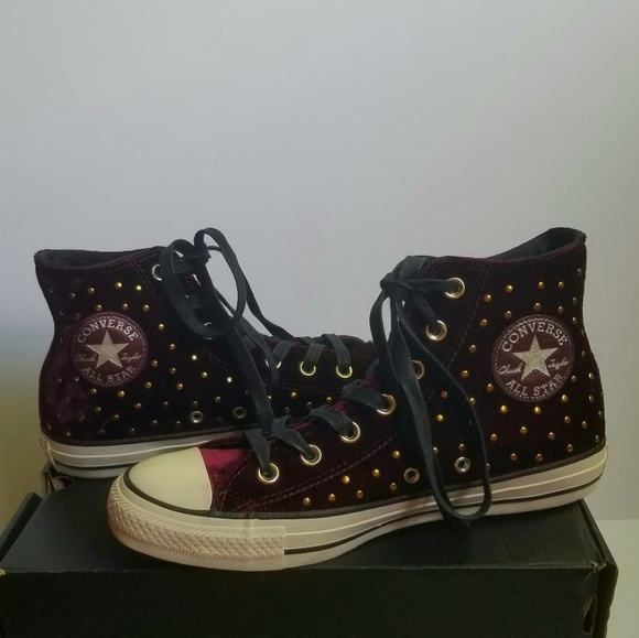 b1e5d0f453f1 Converse Red Velvet Studded High Tops Shoes 8 NEW